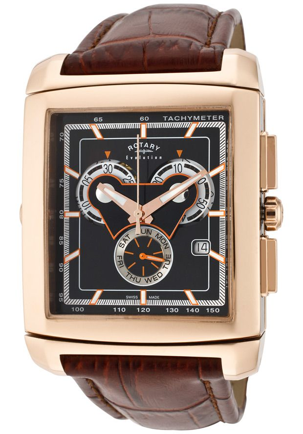 Price:$299.99 #watches Rotary EGS0005-TZ2-03-04, Rotary gents Evolution TZ2 chronograph rose gold tone case, leather strap watch with reversible dials.