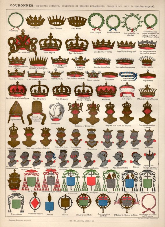 Crowns Heraldry 1897 Antique Print Vintage by Craftissimo on Etsy, €20.00