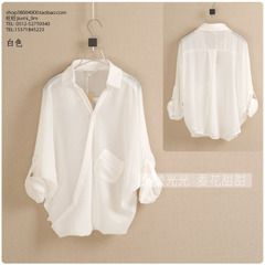 vivi2014春夏新款女装韩版欧范简洁纯色斜门襟蝙蝠袖透明雪纺衬衫