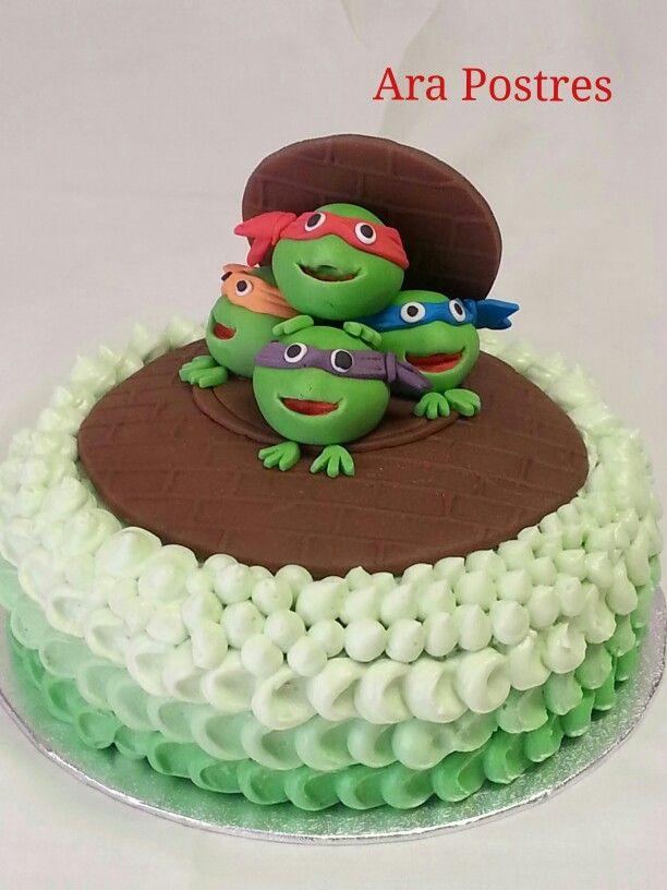 Tarta tortugas Ninja#fondant#buttercream