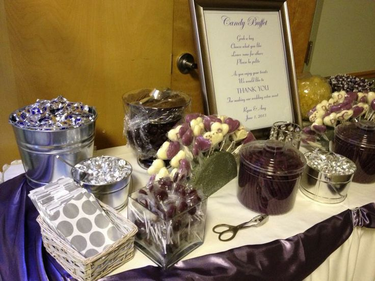 Purple candy table. All sorts of purple candy keeping in theme with the Victorian lilac Wedding theme.   http://djrockinsteve.com/content.php?326-Chartier-s-Room-Wedding-Amy-Ryan