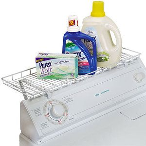 Shelf that attaches to dryer. This would be fantastic for detergents, softner, and bleach so that I don't have to lift those bottles so high to the existing shelf. That shelf could then be better used to house the reusable shopping bags, hot/cold bags, and lunchboxes/coolers. Got to maximize storage options in small space living! :)