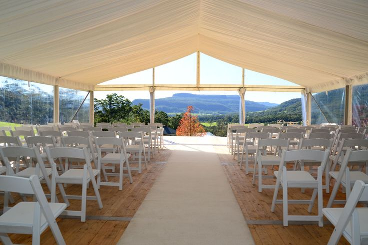 Wedding Ceremony Marquee Overlooking Kangaroo Valley, this ceremony setting made the most of stunning views and vistas. #YESevents #weddings #YourEventSolution