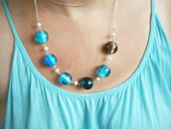 Blue Glass Necklace  Bold Statement Necklace  by GlamorousSparkle