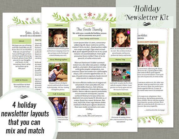 Holiday newsletter template gold elegant university for Christmas newsletter design ideas