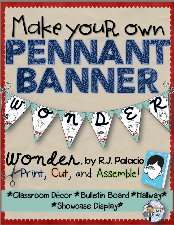 Share this special book all school year! Hang it up in your classroom. Wonder, by R.J. Palacio: Make Your Own Pennant Banner ($)