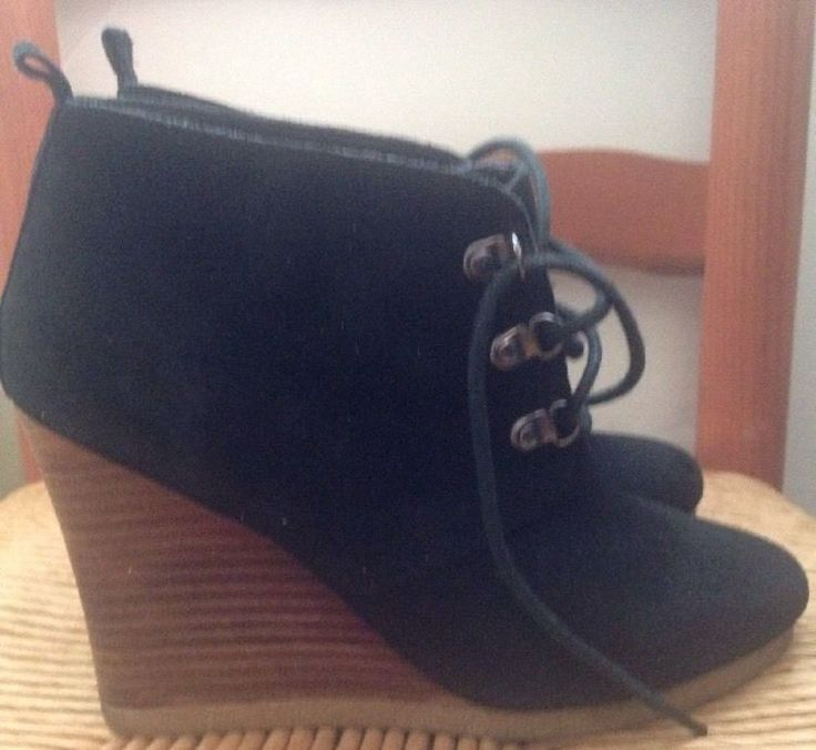 Express Black Ankle Boots Ladies Platform Wedge Women's Size 8 Shoes #Express #AnkleBoots #Casual