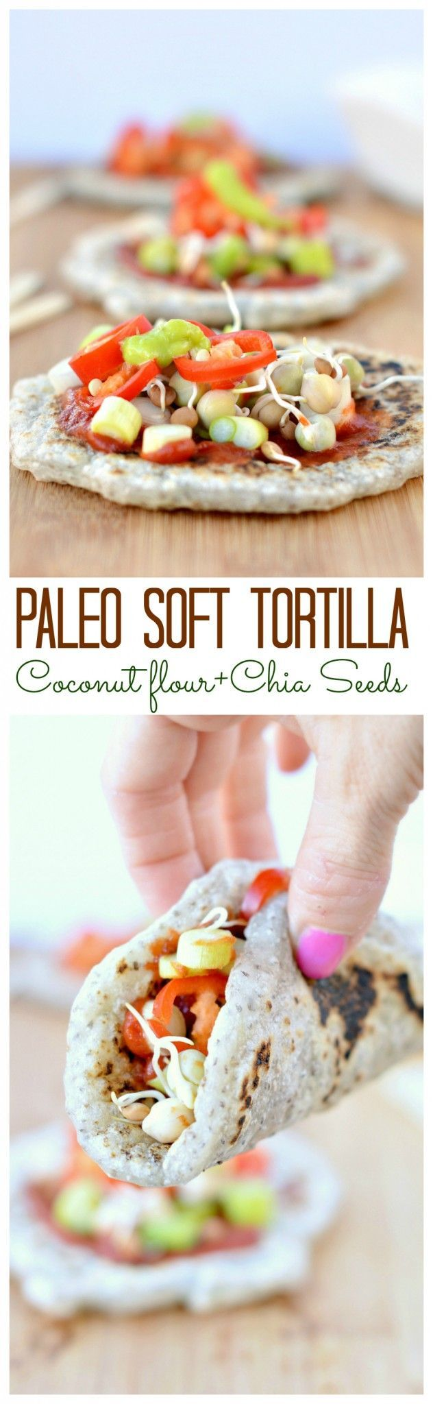 I love those healthy soft tortilla made with coconut flour and chia seeds. Soft, chewy and fulfilling. And they are also gluten free and vegan! #vegan #paleomeal #paleodinner #paleofood #tortilla #chiaseed #blackchiaseed #arrowrootflour #tapioca #tapiocaflour