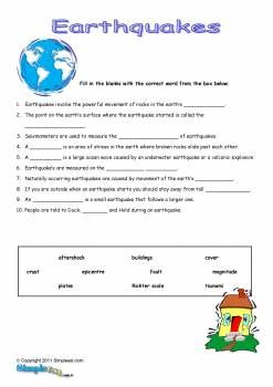 earthquake worksheets free | Earthquakes ESL Worksheet – Printable English Fill in the Blanks ...