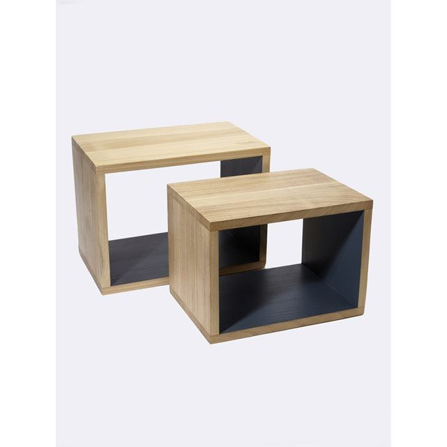 Kubus in hout, per set van 2 CYRILLUS : prijs, mening en score, levering. Kubus in hout, per set van 2 Kunnen op de grond geplaatst worden of aan de muur worden bevestigd. Kubussen met een strakke lijn! Set van 2 kubussen met een verschillende maat. Afm. grote kubus: 40 x 25 x 30 cm. Afm. kleine kubus: 35 x 25 x 25. Wit of blauw binnenin (2 verschillende tinten). Gleuven achteraan om aan de muur te bevestigen (vijzen niet bijgeleverd). In naturel hout, geschilderd binnenin.