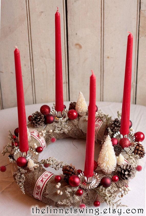 Alpine Advent Wreath Christmas Wreath Advent by TheLinnetsWing