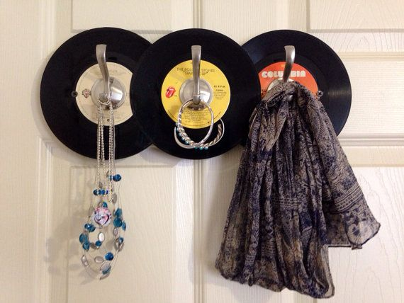 """Repurposed vinyl turned into hat and coat rack.  For more items made with records check out the Musicasartbysarah shop section """"Record Store Re-spun"""" at:https://www.etsy.com/shop/MusicAsArtBySarah?section_id=13646235&ref=shopsection_leftnav_1"""