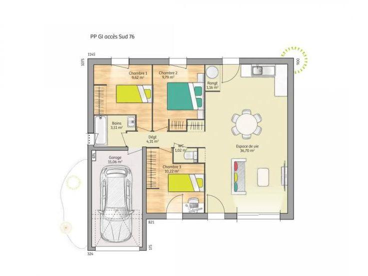Plan de maison Open Nord PP GI accès Sud 76 so design : Vignette 1