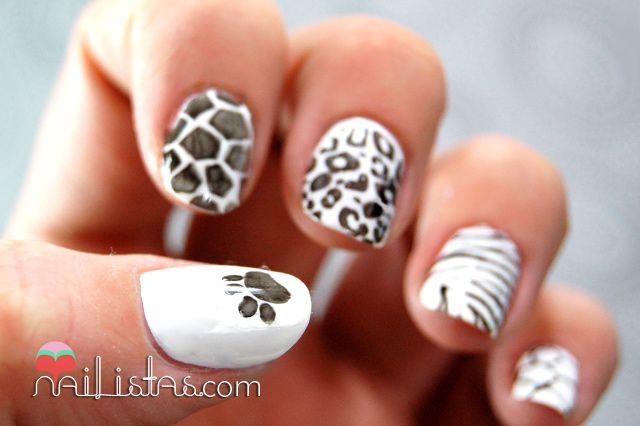 Uñas decoradas con animal print // cebra, leopardo, jirafa, tortuga – Nailistas | Nail art paso a paso