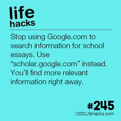 The post #245 – Stop Using Google.com To Search For School Essays appeared first on 1000 Life Hacks.
