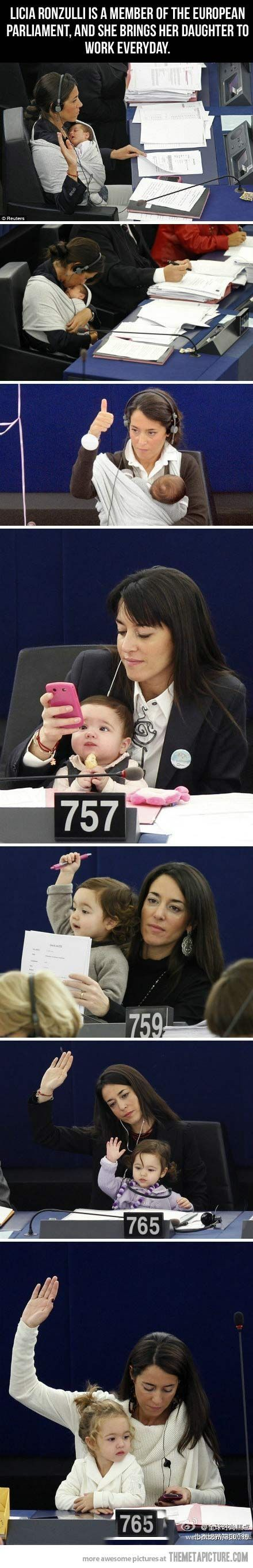 """We push women to study, to get a great job then at some point they have to choose between a family or a career. Women shouldnt have to choose"" Licia Ronzulli often brings her daughter at the European Parliament as a symbolic gesture to reclaim more rights for women in reconciling work and family life. LOVE THIS!!! by alta"