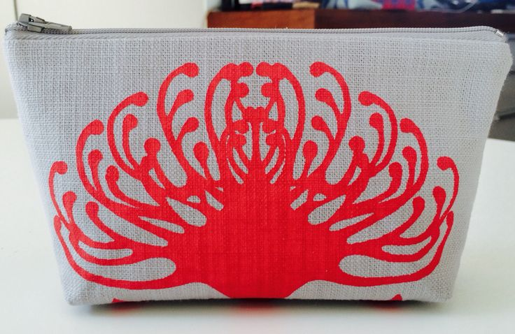 SQ Small cosmetic bag LA pincushion in Coral on Silver grey base cloth  £10.00