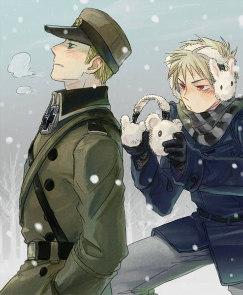 Hetalia_Germany and Prussia. Awww... Prussia is such a good big brother ^^