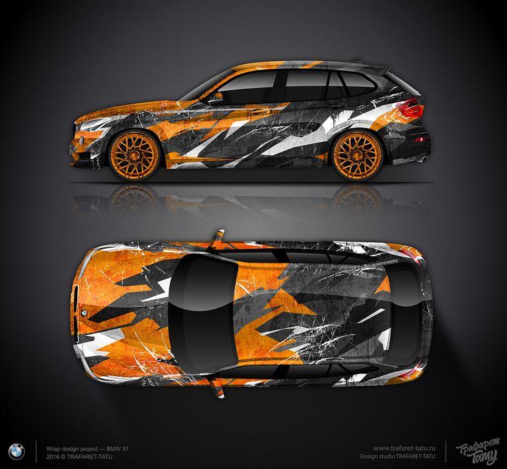 Design Concept 2 Bmw X1 Orange City Camo Car Wrap