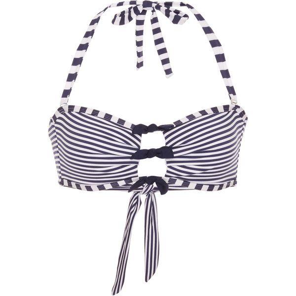 Paolita Leyna Bikini Top ($135) ❤ liked on Polyvore featuring swimwear, bikinis, bikini tops, stripe, tankini tops, paolita, bow swimsuit top, striped bikini top and striped bikini