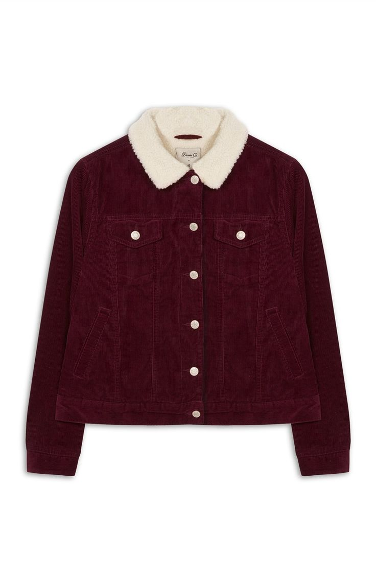 Burgundy Cord Sherpa Lined Jacket