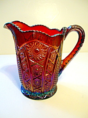 Pitcher, Heirloom Ptn. Red Sunset Carnival Glass