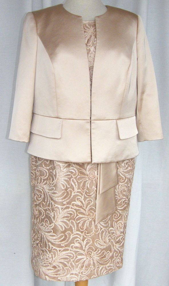 JACQUES VERT GOLD OR CHAMPAGNE LUXURY CORNELLI LACE & SATIN DRESS SATIN JACKET