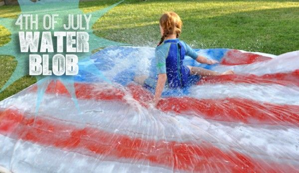 Virtual Fourth of July Party with the Caffeinated Crafters 4th of July Homemade Water Blob and Slip and Slide for kids