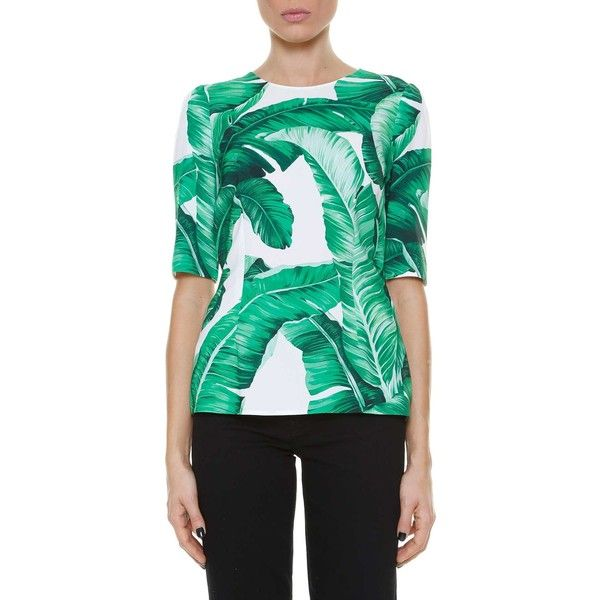 DOLCE & GABBANA 'Banano leaves' printed blouses (€635) ❤ liked on Polyvore featuring tops, blouses, multicolor, dolce gabbana top, dolce gabbana blouse, green blouse and green top