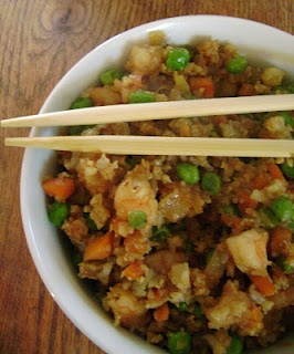 "Cauliflower Fried ""Rice"". Half the carbs of regular fried rice, less calories too. Still delicious!"