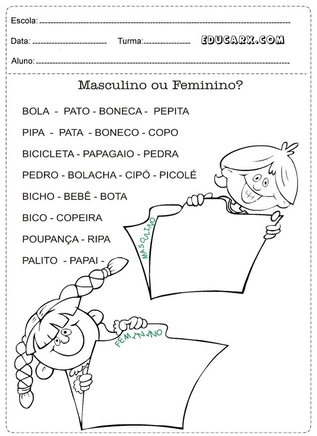 Atividades masculino ou feminino?