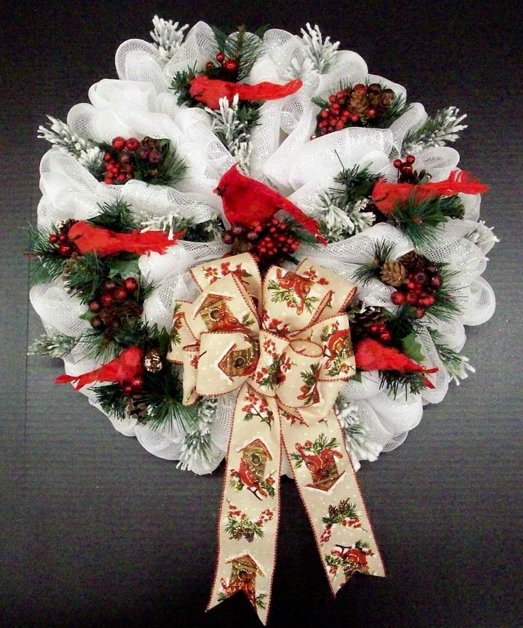 Cardinal Deco Mesh Wreath designed by Karen B., A.C. Moore Erie, PA #christmas #wreath #decomesh