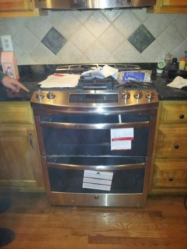 slidein double oven gas range with convection oven in stainless steel
