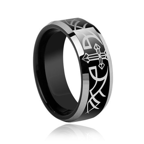 new vintage black cross pattern tungsten mens ring goth gothicweddingrings gothic wedding ring - Goth Wedding Rings