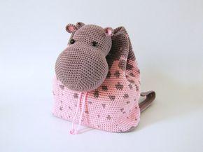 Patrón de gancho para mochila de hipopótamo