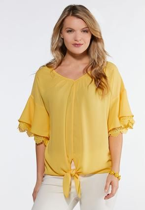 62885b7029 Gold Tie Front Top Shirts   Amp   Blouses Cato Fashions in 2019 ...