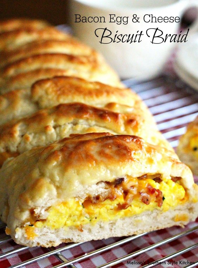 Bacon Egg And Cheese Biscuit Braid from Melissa's Southern Style Kitchen