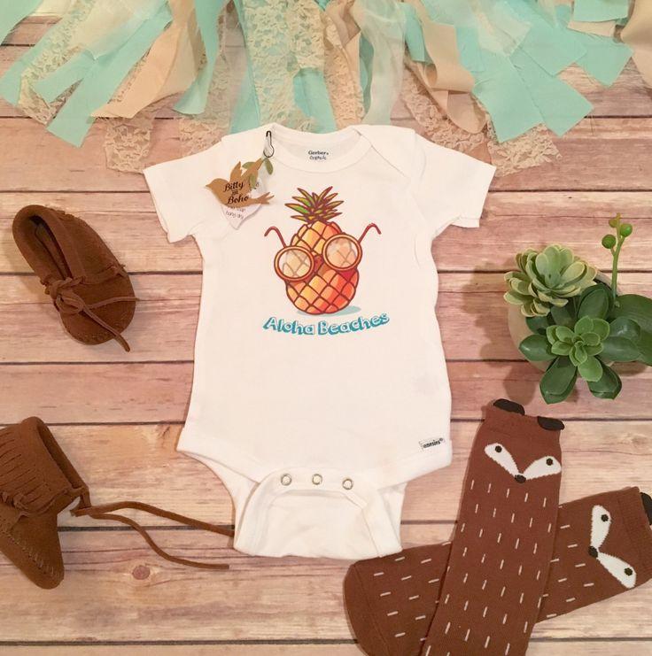 Aloha Beaches Baby Onesie®, Pineapple Baby Onesie, Hipster Baby, Cute Baby Clothes, Hawaii Baby Onesie, Baby Girl Clothing, Trendy Baby