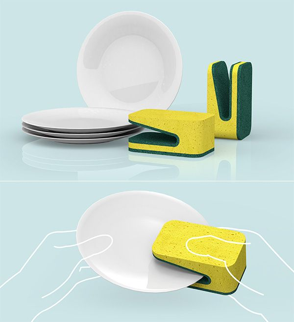 It's not rocket science, but doing dishes right can get a bit annoying, especially when they are super greasy. I love this Folded Dish Sponge concept that has a dedicated scrub slot integrated to the spongy middle, so that you can have squeaky-clean dishes. Simple and innovative!