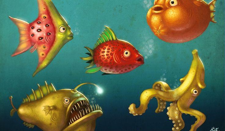 Обои Подводный мир,фрукты,рыбы,море 1024x600 px