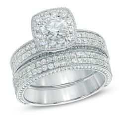 1-1/5 CT. T.W. Diamond Vintage-Style Frame Bridal Set in 14K White Gold - View All Jewelry - Gordon's Jewelers