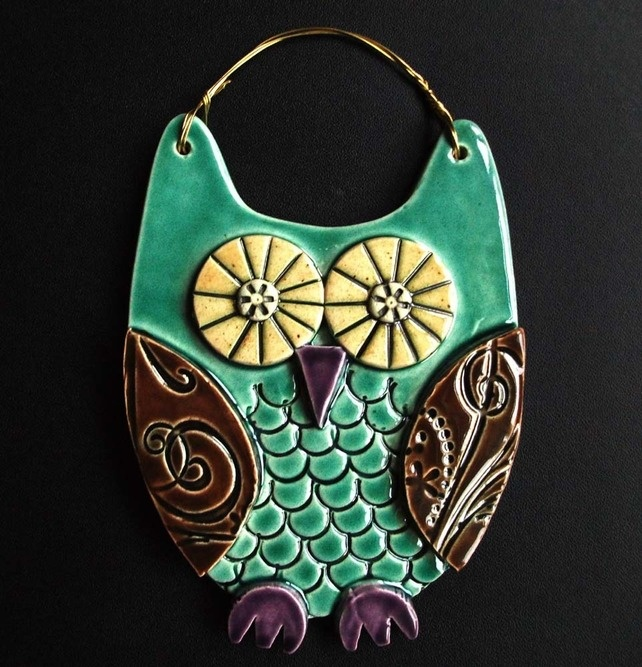 Blue Owl ceramic hanging decoration by the Dottery Pottery