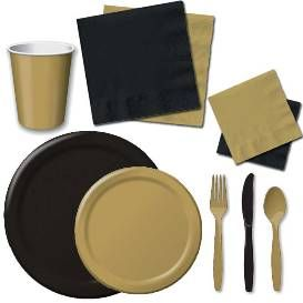 Black And Gold Party Supplies | Black and Gold Tableware Theme