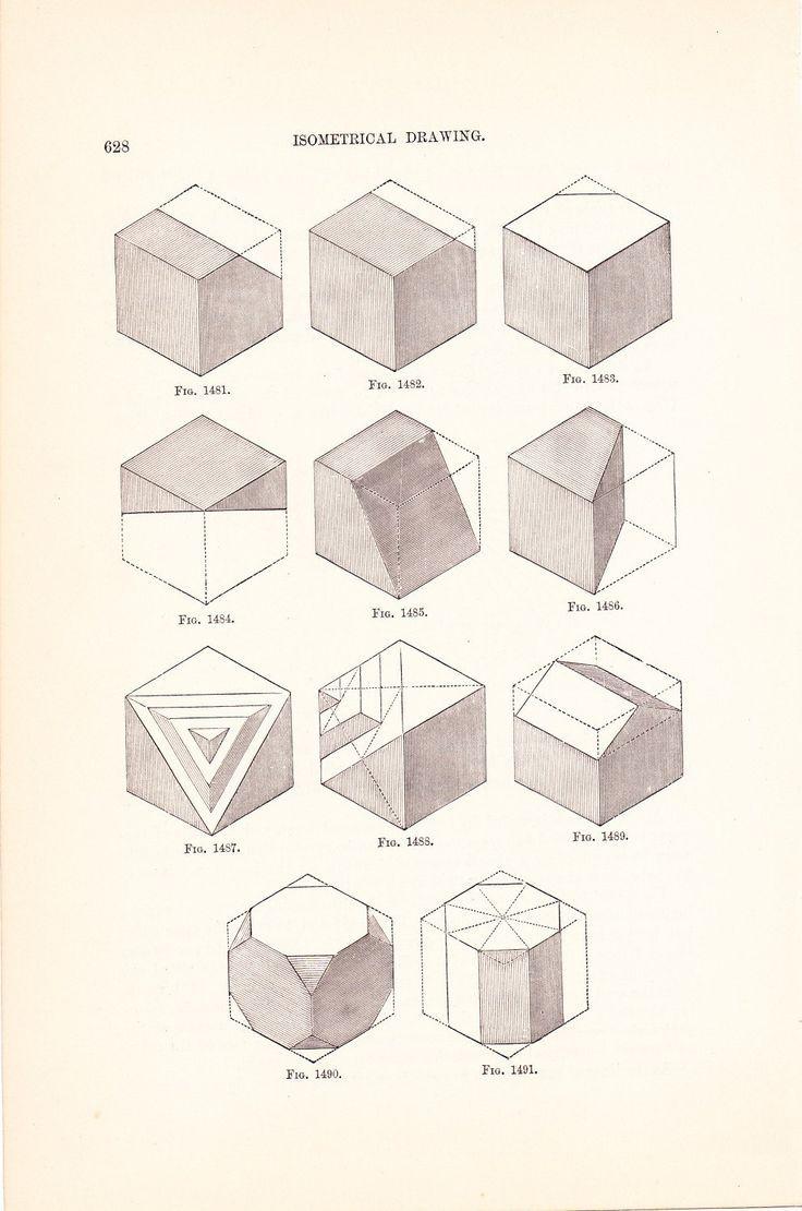1886 Technical Drawing - Antique Math Geometric Mechanical Drafting Interior Design Blueprint Art Illustration Framing 100 Years Old. via Etsy.