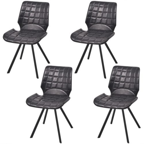 4xKüchenstuhl Esszimmerstuhl Esszimmer Lehnstuhl Stühle Kunstleder Schwarz #sparen25.com , sparen25.de , sparen25.info