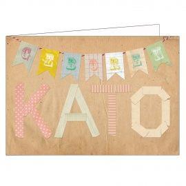 Washi tape meisje geboortekaartje birth card