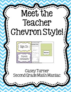 Second Grade Math Maniac: Meet the Teacher Chevron Style!