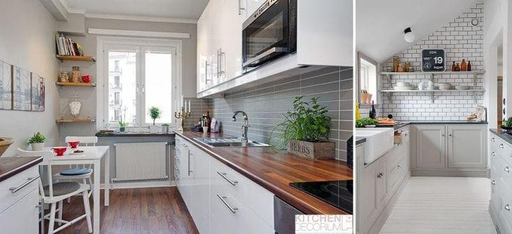 Дизайн узкой кухни -паркет, ламинат, линолеум