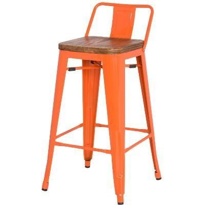 Rustic Industrial Wood Metal Low Back Orange Bar Counter Stool 26""