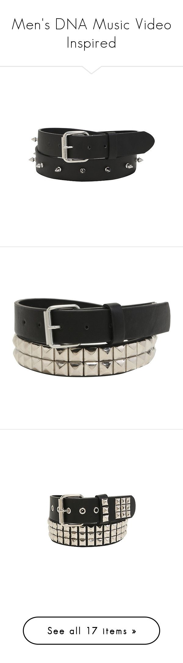 """Men's DNA Music Video Inspired"" by katiehorror ❤ liked on Polyvore featuring accessories, belts, spike belt, vegan belts, round buckle belt, faux leather belt, pyramid belt, leather pyramid stud belt, leather belt and genuine leather belt"